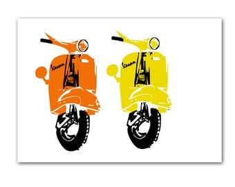Vespa Scooter Print - Fine art print, Modern decor scooter, Wedding Gift, Vespa art, Yellow Vespa