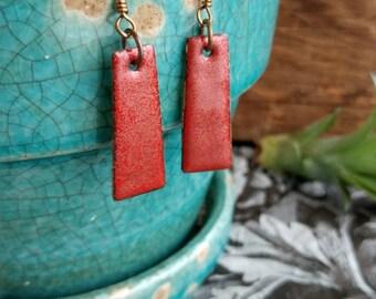 Red Shimmer Enameled Pendant Earrings