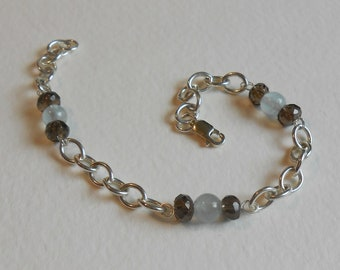 Sterling Silber Aquamarin und RAUCHQUARZ Armband