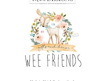 Deer Logo - Watercolor Logo, Premade Boho Baby Logo, Rustic Boutique Logo, Premade Logo, Watercolour Logo, Doe Logo, Arrow Logo