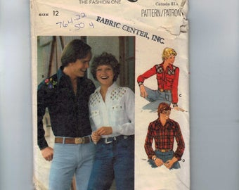 1970s Vintage Sewing Pattern Butterick 5006 Misses Western Shirt Size 12 Bust 34 70s  99