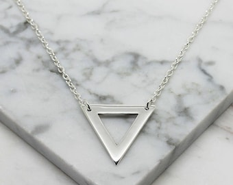 Triangle Sterling Silver necklace, triangle pendant, triangle charm, silver triangle, birthday gifts, silver triangle necklace, triangle