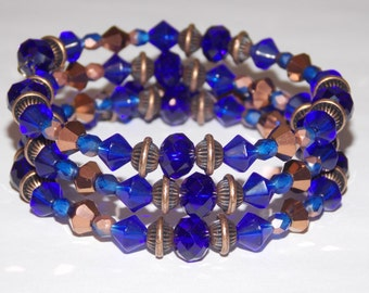 Cobalt Blue Czech Glass Cobalt Blue Crystals and Copper Wrap Bracelet