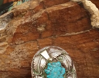 Vintage Native American Sterling Silver and Turquoise Signed Pendant - By N. King