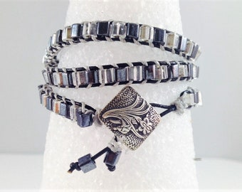 Black & Clear Crystal Seed Bead Wrap Bracelet Silver Button