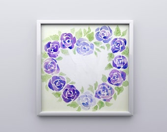 Floral Watercolor Wreath Print - Purple Roses