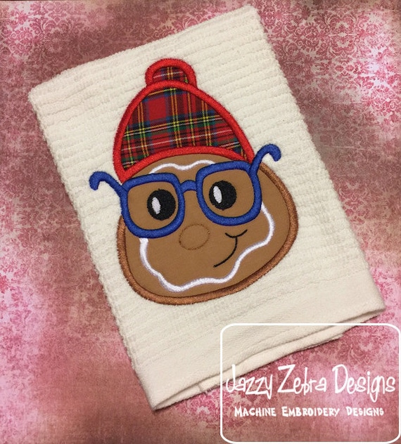 Gingerbread boy wearing beanie hat and glasses Applique Embroidery Design - gingerbread boy appliqué design - Christmas Applique Design