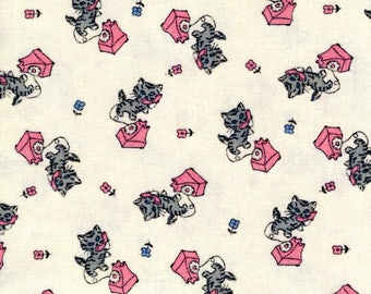 Aunt Grace Flannel, 1930s Reproduction Flannel, Judy Rothermel Cotton Flannel,Marcus Flannel,Gray Kitties Pink Phones Flannel