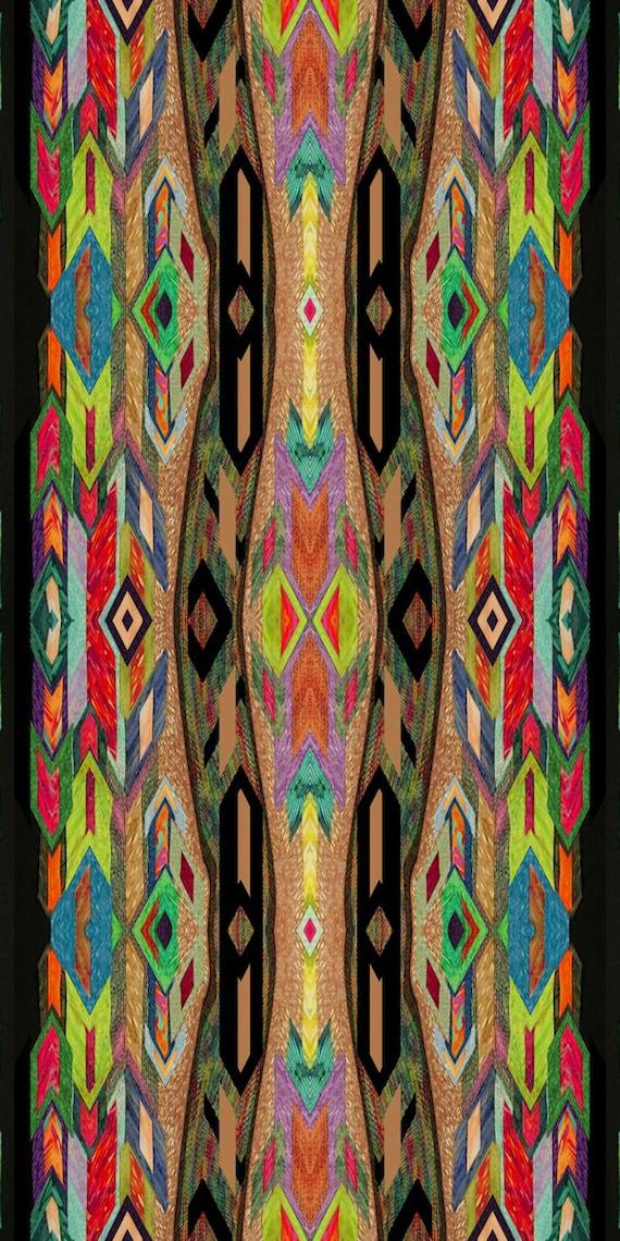 Artisan Handmade Velvet Upholstery Fabric Aztec Ethnic Shimmer Fiber Art Fabric