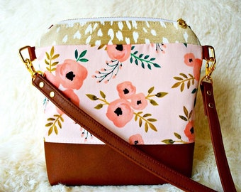 Ready to ship poppy floral crossbody, deer crossbody, deer print crossbody, deer purse, floral purse, floral crossbody, vegan leather bag