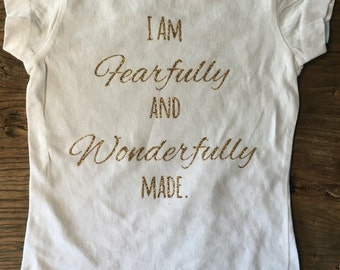 """Girls Shirt """"Fearfully and Wonderfully Made"""" glitter top in toddler and girl sizes"""