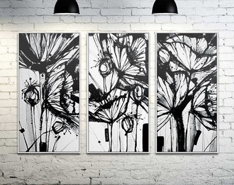 Poppy Flowers Blossoms in set of 3 (Digital Art on Canvas)