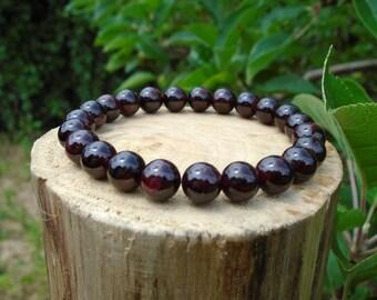 Garnet Bracelet, January Birthstone Bracelet, Red Bead Bracelet, Yoga Bracelet, Gemstone Bracelet, Beaded Bracelet, Men's/Women's Bracelet
