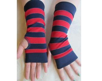 Navy Blue & Red Striped Fingerless Gloves