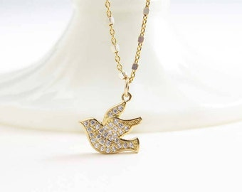 Gold Dove Necklace ~ Pave Cubic Zirconia Bird ~ Small Bird Necklace ~ Gift for Her ~ Swallow Necklace ~ Flying Bird Necklace ~ Bird Jewelry