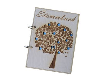 A5 18 x 24 cm Wood, family book-engraved-Real wood