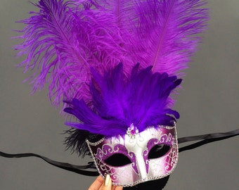 Masquerade Mask, Feather Masquerade Mask, Feather Masks, Mardi Gras Mask, Mardi Gras Masks, Masquerade Ball, Feather Mask [Purple | Silver]