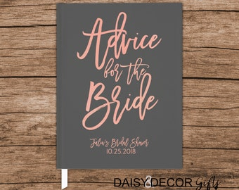 Bridal Shower Guest Book bride notebook Wedding Keepsake Advice for the Bride Book Personalized Wedding Wishes Advice Mrs Wedding Journal