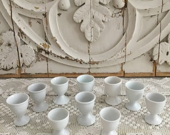 Collection of 10 Old White Porcelain Egg Cups