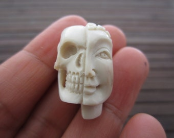 Unique two Face Skull, Bone Sculpture, Carved  Deer Antler ,  Jewelry making supplies B5660-C