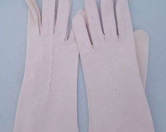 Pink Dress Gloves, Vintage 1940s, Pink Driving Gloves, Pink Gloves, Cotton Nylon Gloves, Wrist Length Pink Gloves, Wrist Length Gloves