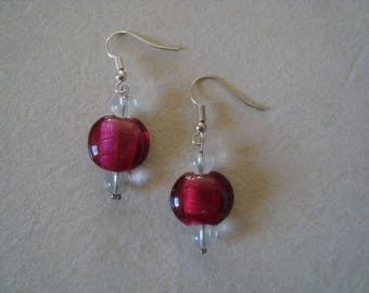Simple earrings raspberry and white transparent