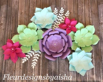 Paper Flower Set With Leaves Nursery Decor