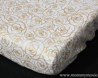 Fitted Crib Sheet/Changing Pad Cover/Mini Crib Sheet in Metallic Gold Roses on White- Gold Flowers Nursery Print - by Mommy Moxie on Etsy