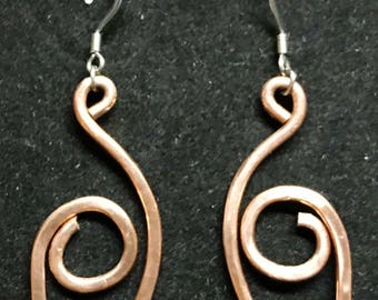 Copper Swan Earrings
