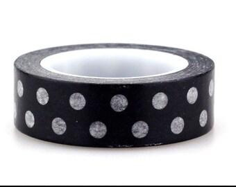 10m Black and White Polka Dot Japanese Washi Tape, Black and White Masking Tape