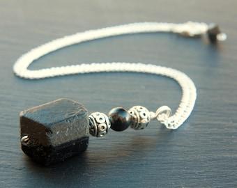 black tourmaline necklace, black tourmaline jewelry, black tourmaline pendant, black tourmaline stone, crystal necklace, black tourmaline