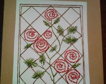 Greeting Card, Roses, Hand Sititched