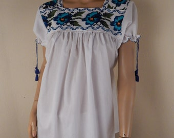 vintage hippie top, mexican top, embroidered top, 1970s top