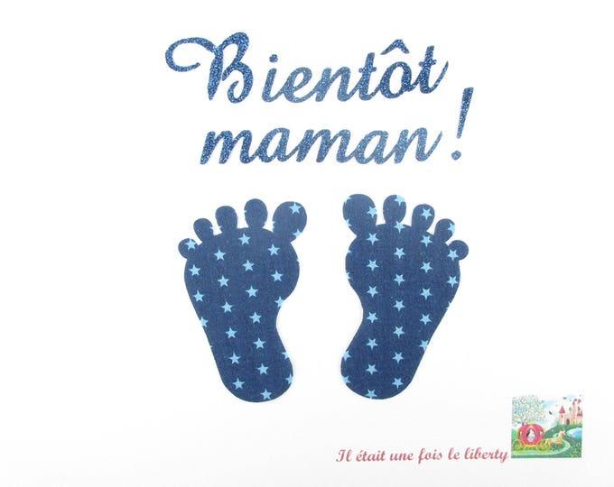 Applied fusing soon Mommy baby feet fabric Navy Blue star glitter flex patch iron maternity pattern birth