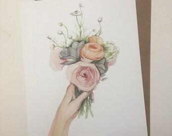 Handful of flowers 8x10 art print// home decor - children - kids room -