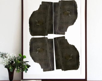 Extra Large Black and White Abstract Art, Big Vertical Wall Art, Contemporary Art Poster Print