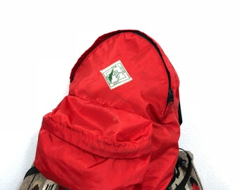 70's vintage rei nylon backpack day pack red color unisex
