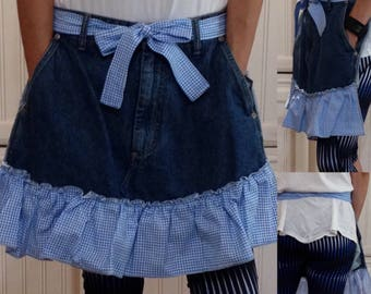 Denim half apron cotton blue gingham check ruffle cotton blue gingham check ties long waist ties dark blue denim apron repurposed denim