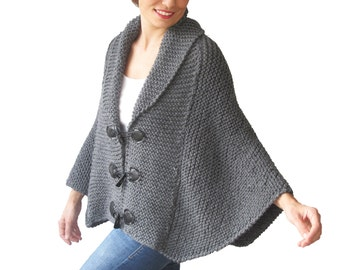 Plus Size Hand Knitted Silver Dark Grey Poncho with Leather Rope by Afra