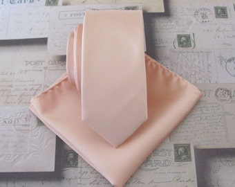 Pastel Peach Pale Apricot Skinny Necktie with *FREE* Matching Pocket Square Set