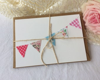 Kraft Hand made Fabric Bunting Stitched notecards/Birthday Blank cards notelets
