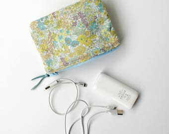 Double Pouch with sponge, Portable chargers bag, Liberty of London  Margaret Annie (Green)