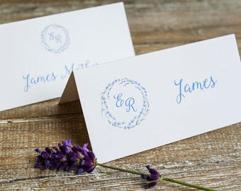 Lavender Wedding Place Name Cards /  table place cards / guest seating cards/ lavender wreath/ personalised