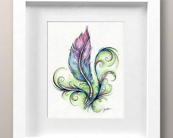 Watercolor Feather Illustration, Wispy Feather, Tribal Pattern, Home Decor, Printable Digital Wall Art, 8x10, High Resolution JPG, 600 dpi