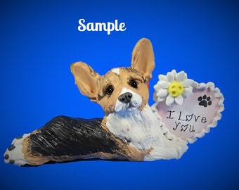 Tri Color Pembroke Welsh Corgi Dog  I LOVE YOU heart sculpture Polymer Clay art by Sallys Bits of Clay