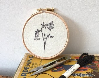 """Hand Embroidered Harebell; from my Flora & Fauna Series - stitched drawing in a 4"""" hoop FREE UK SHIPPING"""