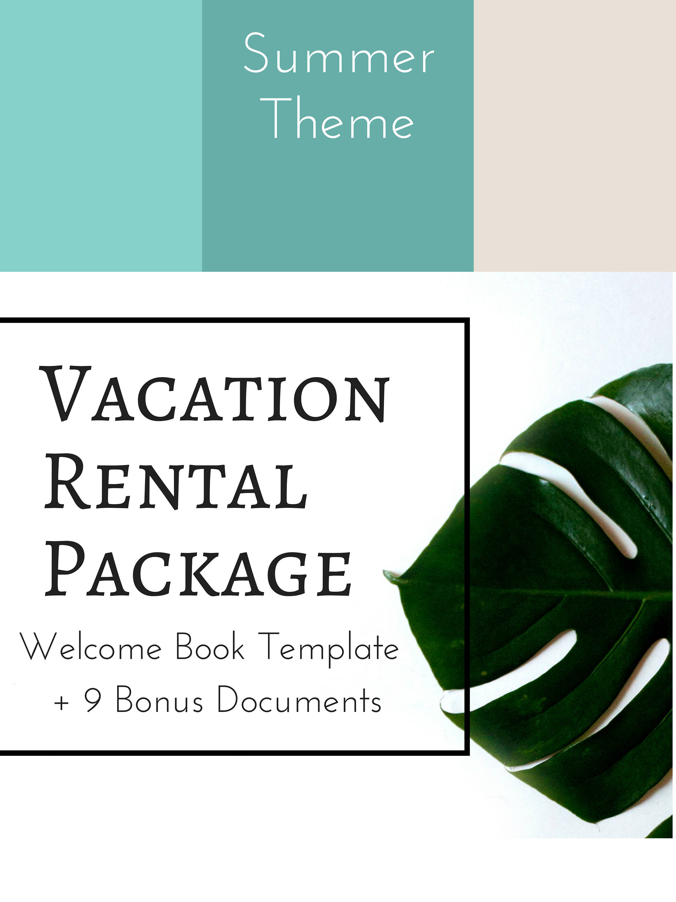 10 Item Package Summer Colors Vacation Rental Welcome Book