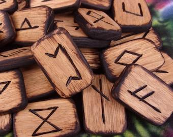 Elder Futhark Rune Set/ Wood Runes/ Norse Runes/ Viking Runes/ Wiccan Runes/ Divination Tools/ Aett/ Rune Set/ Hand Carved/ Free Shipping
