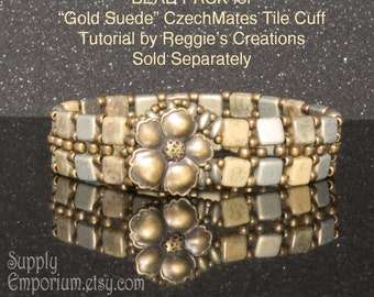 Gold Suede BEAD PACK BB20 for CzechMates Tile Cuff by ReggiesCreations, BB-20. Tutorial Sold Separately
