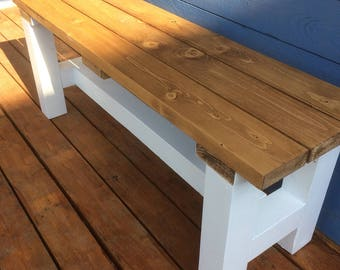 Sturdy bench seat . Reclaimed timber . 106 x 30 cms